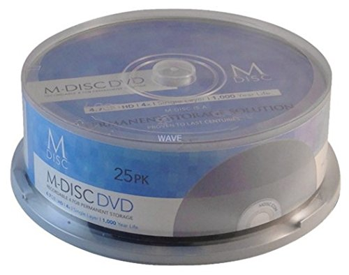M-DISC 4.7GB DVD+R Permanent Data Archival/Backup Blank Disc Media - 25-Pack by Vinpower Digital