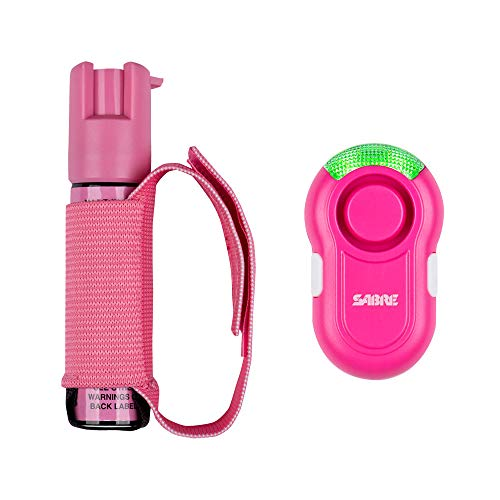 (SABRE RED Pink Pepper Gel Spray for Runners with Pink Clip-on Personal Alarm - Max Police Strength Gel OC Spray w/Adjustable Strap, 35 Bursts, 12-Foot (4M) Range, 120dB Alarm w/LED Light for Safety)