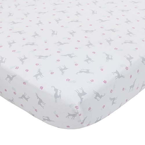 Dwell Studio Sweet Fawn Deer/Forest Super Soft Fitted Crib Sheet, Lavender/Gray/White (Lavender Hugs)