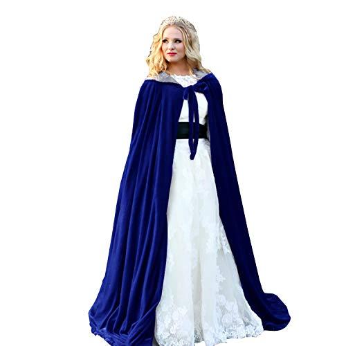 Burgundy - Vendas de terciopelo con capucha para mujer, para boda o invierno, capa larga, Azul, XXXL