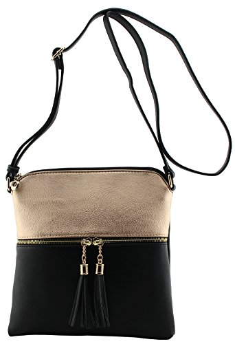 with Rose strap Gold crossbody size amp;Joey medium Amy shoulder tassels and bag adjustable black wqXF1ZE7P