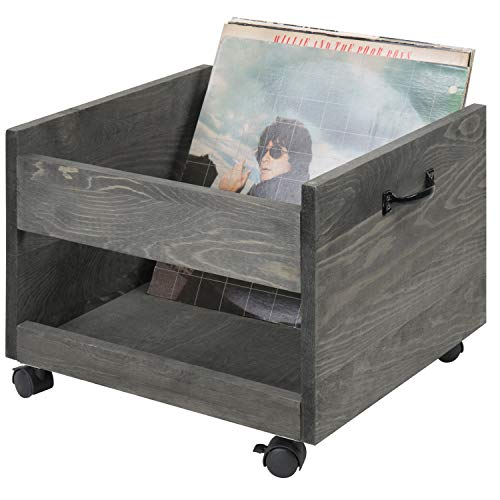 MyGift Vintage Grey Wood Vinyl Record Rolling Storage Crate with Casters