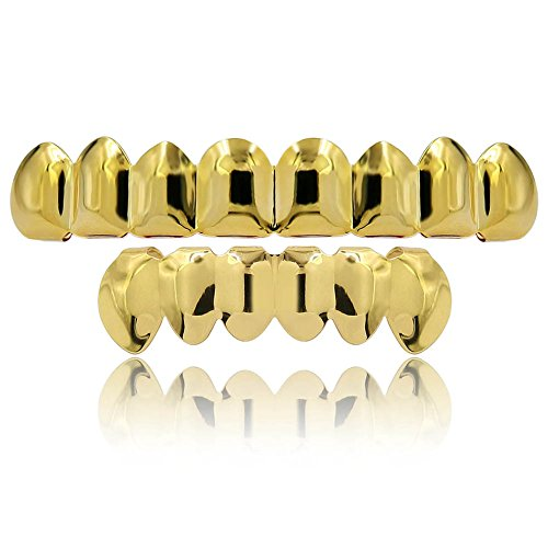 JINAO 8 Teeth Gold Plated Top& Bottom Grillz Bling Mouth ...