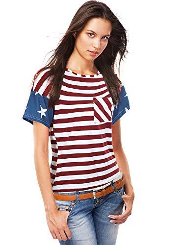 American FlagT-Shirt Stripe Stars Short Sleeve Tops Patriotic T-Shirt Women Girls Summer Short T-Shirt for 4th of July Celebration (S)