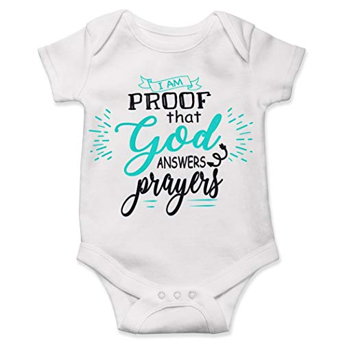 (Religious Baby Onesie, I Am Proof That God Answers Prayers Onesie, Cute Prayer Baby Onesie White)