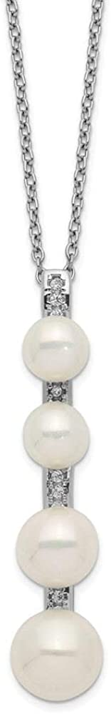 Sterling Silver 5-8MM White Freshwater Cultured Pearl CZ Necklace 17