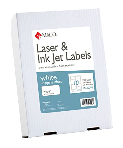 MACO Laser/Ink Jet White Shipping Labels, 2 x 4 Inches, 10 Per Sheet, 2500 Per Box (ML-1000B)