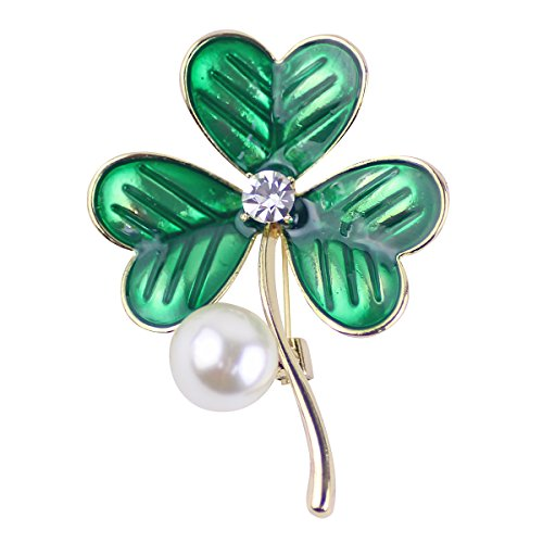Ailer Delicated Brooches for Women Green Heart shaped petals Leaf with a Big Simulated Pearl Brooches Pins-13G