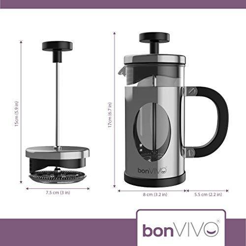 bonVIVO GAZETARO I cafetera (French Press) de diseño y Prensa Francesa Fabricada con Acero Inoxidable y Vidrio con Acabado en Plata con filtros, ...