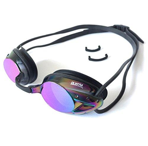 Olwym Swim Goggles - Swimming Goggles For Men Boys Women Adult Youth Children & Kids - Triathlon Non Leak Anti-Fog UV Protection Clear Vision Mirrored- Free Google Case (Rainbow - - Mirrored S