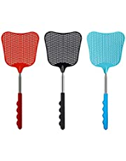 Extendable Fly Swatter, 3 Pcs Durable Heavy Duty Plastic Manual Swat Pest Swatter with Extendable Stainless Steel Handle for Office, Home, School, Swat Pest, Fly(Black, Red, Blue)