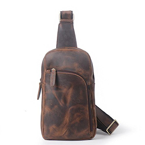 Men's Single Bag Large Brown02 Quality Chest High Satchel Capacity Casual Leather Haixin Bag Retro Shoulder dzaPdq