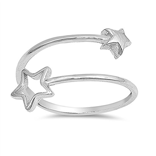 Thin Open Shooting Star Adjustable Ring New .925 Sterling Silver Band Size 4