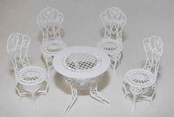 gartenmöbel 4 stühle und 1 tisch - aus metall - möbel set ... - Gartenmobel Weis Metall