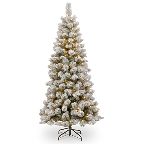 National Tree 7.5 Foot Snowy Bristle Pine Slim Tree with 350 Clear Lights, Hinged - Tips 350 Lights Clear