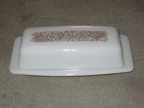 Vintage Corning Pyrex WOODLAND BROWN Glass Butter Dish - Made In USA