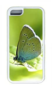 Butterfly Standing on Green Leave Sakuraelieechyan Iphone 5C White Sides Rubber Shell TPU Case