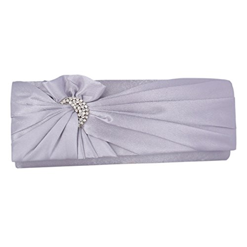 Clutch Silver Pleated Retro Womens Evening Flower Adoptfade Bags Bag Satin tBwPxq4