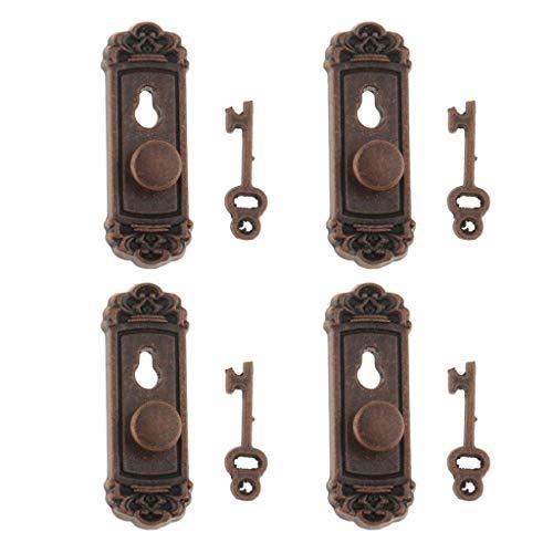 1:12 Dollhouse Miniature Hardware Vintage Metal Door Knob Lock and Key Set for Doll Hose Decor ()