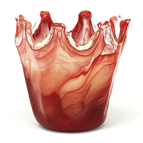 Antico Murano Hand Blown Murano Glass Small Red Vase with Candle, Made in Italy