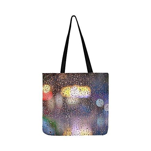 Price comparison product image Rain Drops Wet Glass Canvas Tote Handbag Shoulder Bag Crossbody Bags Purses For Men And Women Shopping Tote