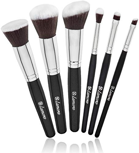 Travel Makeup Brush Set - Professional Kit with 6 Essential Face and Eye Makeup Brushes - Kabuki Eyeshadow Powder Foundation Blush - Synthetic Bristles of Premium Quality for Airbrushed Finish