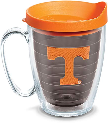 (Tervis 1084421 Tennessee Volunteers Logo Tumbler with Emblem and Orange Lid 16oz Mug, Quartz)