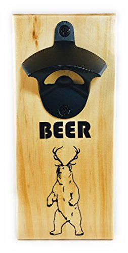 The Meraki Collections Bottle Opener - Wood Mounted Bottle Opener with Cap Catcher | Beer Opener Refrigerator Magnet | Beer Gift | Bear + Deer = Beer