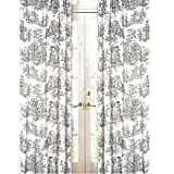Sweet Jojo Designs 2-Piece Black French Toile Window Treatment Panels