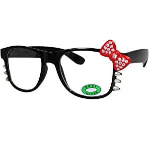 Cute Hello Kitty Nerd Clear Lens Eye Glasses Black Frame Red Bow Silver Rhinestone (Black Red Bow Silver Rhinestone)