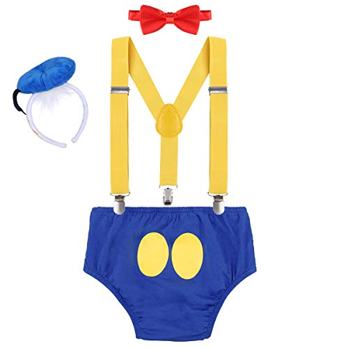 FYMNSI Baby Boys Donald Duck Costume 1st/2nd Birthday Cake Smash Outfits Shorts + Suspender + Bowtie + Headband 12-18M