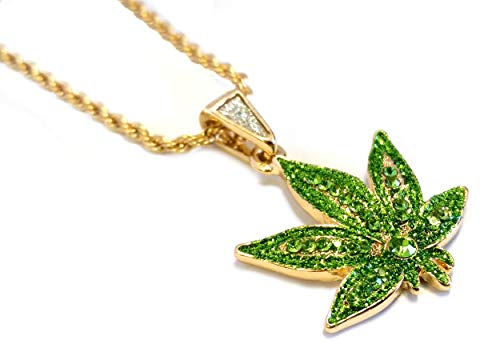Exo Jewel Iced Out Green Cannabis Marijuana Leaf Gold Pendant