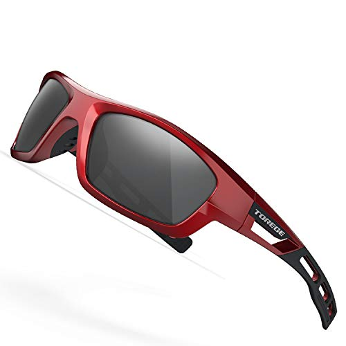 TOREGE Polarized Sports Sunglasses for Man Women Cycling Running Fishing Golf TR90 Unbreakable Frame TR07 Steath Man (Red&Black&Grey ()