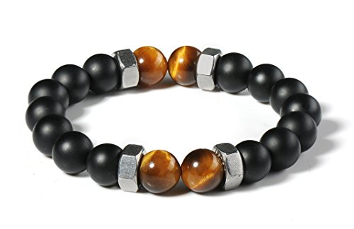 Bella.Vida Men Punk Screw Nut 10mm Tiger Eye Black Onyx Beads Healing Stones Chakra Balance Energy Mala Bracelet for Meditation ()