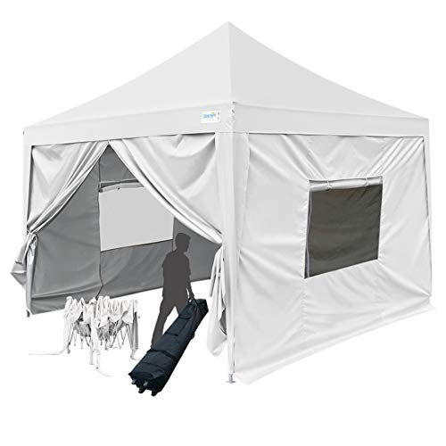 Cheap Quictent Upgraded Privacy 6.6'x6.6′ EZ Pop Up Canopy Tent Instant Outdoor Canopy Party Tent with Sidewalls and Wheeled Bag 9.2ft Height -3 Colors (White)