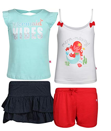 Limited Too Girls' 4-Piece Fun Summer Short Sets (2 Full Sets), Mermaid, Size -