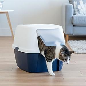 Iris Ohyama, caseta de aseo para gato, apertura frontal – Jumbo Cat Litter Box – Plástico, azul marino/blanco – 53,3 x 45,7 x 43,1 cm