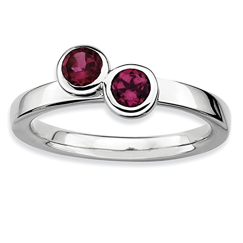 925 Sterling Silver Dbl Round Rhodolite Red Garnet Band Ring Size 8.00 Stone Stackable Gemstone Birthstone June Fine Jewelry Gifts For Women For Her from ICE CARATS