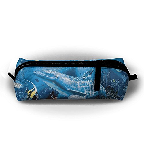 FRTSFLEE Dolphin Tropical Fish Underwater Ocean Pencil Bag Pencil Case Portable Stylish Pen Bag Multifunctional School Supplies For Watercolor Pens & Markers | Perfect Gift For Students & Artist