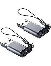 USB C-vrouwelijk aan USB A Male Adapter (2 Pakken) met Lanyard, Seminer USB Type-C aan USB A 3.0 Adapterconverter Compatibel met MacBook Pro, Samsung-notebook, Laptop, PC en Meer, Grijs