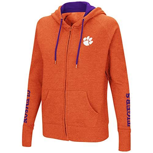 (Colosseum Women's NCAA-Contract-Cotton/Poly-Fleece Full Zip Up Hoodie Sweatshirt-Clemson Tigers-Heathered Orange-Small)