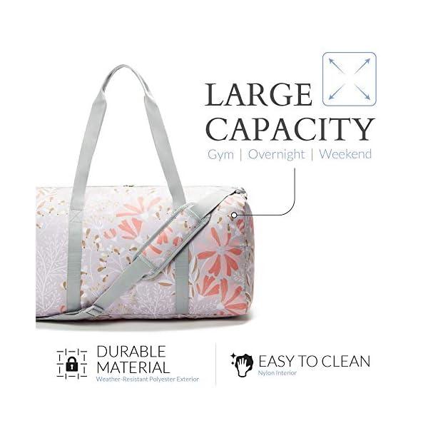 Jadyn B Weekender Bag – 56 cm./ 52L – Sac polochon avec Poche à Chaussure (Gray Floral)