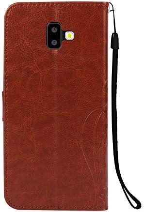 Herbests Kompatibel mit Samsung Galaxy J6 Plus 2018 Handy Schutzhülle Klapphülle Vintage Schmetterling Blumen Lederhülle Brieftasche PU Leder Flip Tasche Wallet Case Handyhülle Handytasche,Rot
