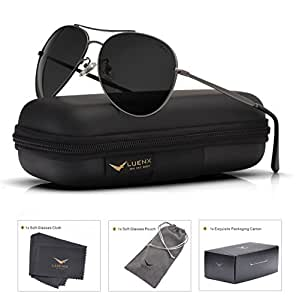 LUENX Aviator Sunglasses Polarized Black for Men Women with Case - UV 400 Protection - Metal Frame 60mm