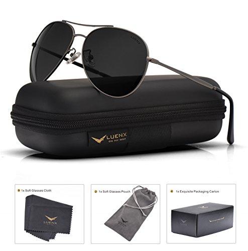 LUENX Aviator Sunglasses Polarized Black for Men Women with Case - UV 400 Protection - Metal Frame - 2015 Sunglasses Style