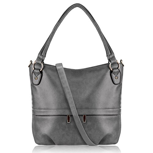 YOLANDO Womens Vintage Style Faux Leather Hobo Tote Bag Shoulder Handbag with Zippered Pockets, Large Capacity (Gray)