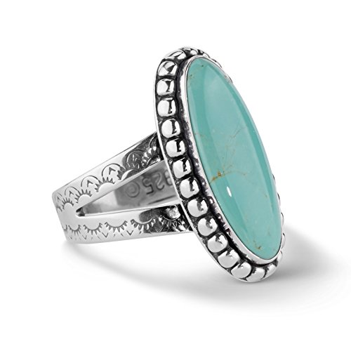 Intricate Design Ring (American West Sterling Silver Green Turquoise Oval Ring)