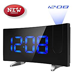 (New Version) HOMTECH 5.5 Projection Alarm Clock for Travel, Bedrooms, Ceiling, Kitchen, Desk Shelf, Wall - FM Radio,3 Dimmer, Dual Alarm, USB Charging,12/24 Hour, Backup for Clock Setting