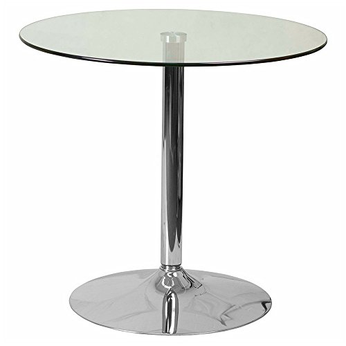 Dinette Table Round with Chrome Base and Glass Top Fit for Smaller Spaces Small Kitchen Table Modern Breakfast Cocktail Table Bistro Dining Furniture Multifunctional Table Commercial & eBook (Round Glass Top Dinette)