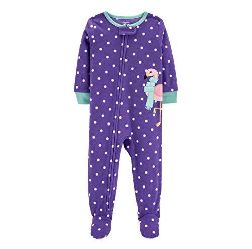 Carter's Girls' Zippered Fleece One-Piece Footie Pajamas (Purple/Flamingo, - Polka Dot Fleece